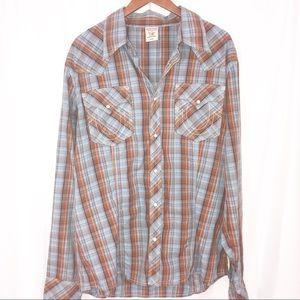 True Religion Plaid Snap Front Button Down Shirt